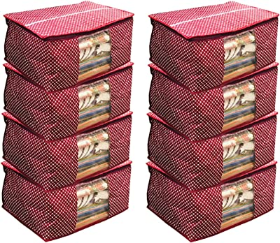 Kuber Industries™ Cotton Quilted Saree Cover Set of 8 Pcs (Maroon)