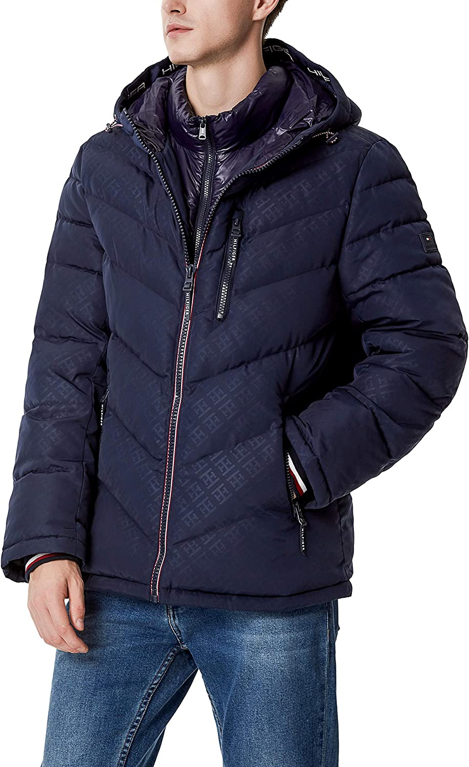 Tommy Hilfiger Men's Midweight Chevron Quilted Performance Hooded Puffer Jacket