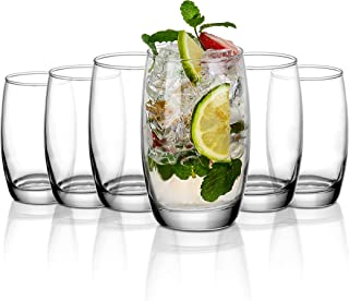 Amisglass Highball Glasses Pack of 6, Glassware Tondo with Heavy Base, Lead-Free, Water Juice Drinking Glasses 40cl, Table...