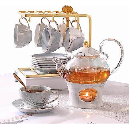 Dujust Petit Tea Ensemble pour adultes, Texture en marbre et garniture dorée, Set de thé en porcelaine grise pour enfants, 1eapot (650 ml), 6 tasses (120 ml), 6 soucoupes, 1 étagère et 1 réchauffeur