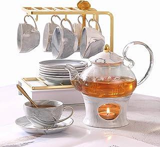 DUJUST 21 pcs Small Tea Set of 6, Gray Marble Texture with Handcraft Golden Trim, Fine Porcelain Tea Pot Set for Kids&Adults, 1 Glass Teapot(22oz), 6 Cups(4oz), 6 Saucers, 6 Spoons, 1 Shelf&1 Warmer