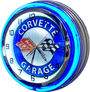Corvette Vintage Neon Clock Design - Large 19 inch Diameter Double Neon Clock