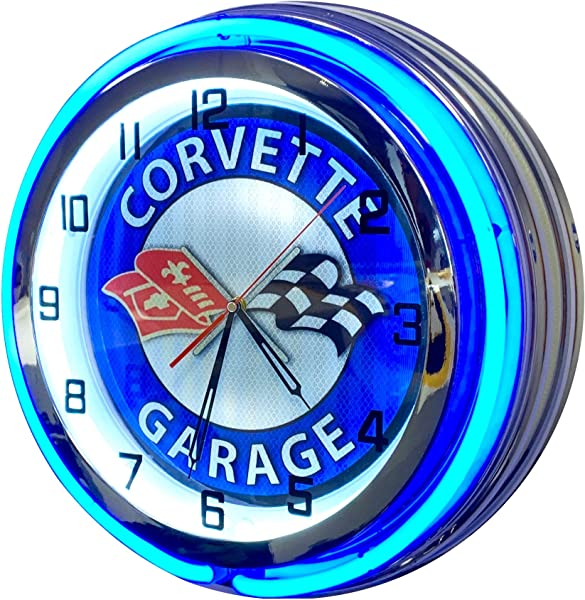 Corvette Vintage Neon Clock Design Large 19 Inch Diameter Double Neon Clock