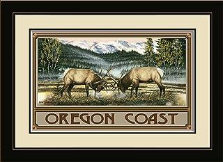 "Northwest Art Mall BA-4017 MFGDM CT Oregon Coast Elk Framed Wall Art by Artist Dave Bartholet, 13"" x 16"""