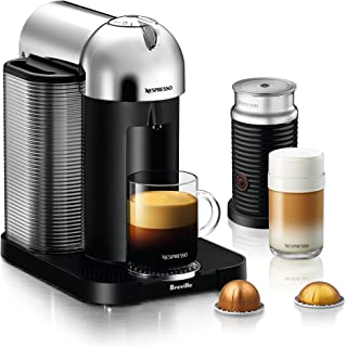 Breville BNV250CRO1BUC1 Vertuo Coffee and Espresso Machine, 15.511.514.75 in, Chrome + Aeroccino