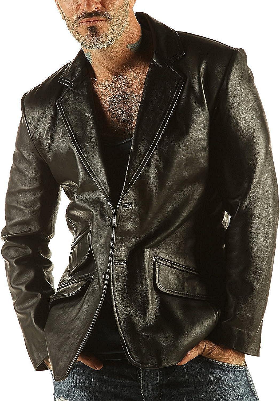 Men's Soft Leather Blazer Jacket Classic Unique Design Color Reefer Goat Nappa