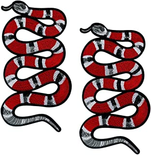 Special100% 2 PC Large Red Snake Patch Pattern Iron On Patches Embroidery Applique Decoration Vintage Animal Patch DIY Patch for T-shirt,Jeans Clothing