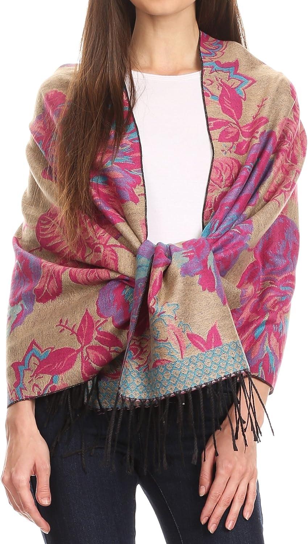Sakkas Aurora Floral Rose Pashmina Scarf Shawl Wrap with Fringe Super Warm Soft