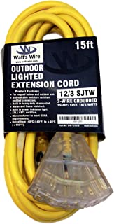 15-ft 12/3 Heavy Duty 3-Outlet Lighted SJTW Indoor/Outdoor Extension Cord by Watt's Wire - Yellow 15' 12-Gauge Grounded 15-Amp Three-Prong Power-Cord (15 foot 12-Awg)