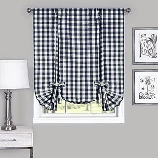 Achim Home Furnishings, Navy & Ivory Buffalo Check Window Curtain Tie Up Shade, 42