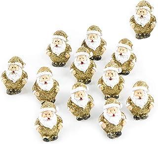 Logbuch-Verlag 12 Mini Nikoläuse Gold glitzernd kleine Weihnachtsmann Figuren mit Glitzer Deko Weihnachten Give-Away Kundengeschenk