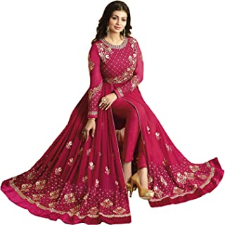 W Ethnic Women's Georgette Semi-stitched Salwar Suit (Pink_Free Size)
