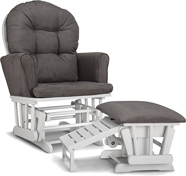 Graco Parker Semi Upholstered Glider And Nursing Ottoman White Gray Cleanable Upholstered Comfort Rocking Nursery Chair With Ottoman