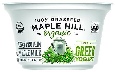 Maple Hill Creamery, 100% Grass Fed Organic Greek Yogurt, Plain, 5.3 oz