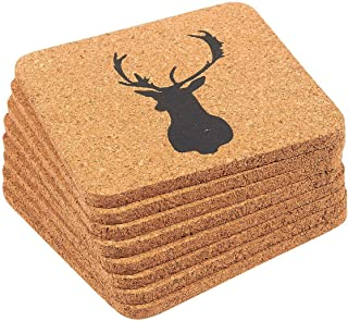 Drink Cork Coasters - 8-Pack Reindeer Design Mug Cup Square Coasters, Decorative Bar Drinks Coasters Set - Perfect for Cold, Hot Beverage, Beer, Dining, Kitchen - Brown, 4 x 4 x 0.19 Inches