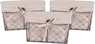 DII Vintage Chicken Wire Baskets for Storage Removable Fabric Liner, Set of 3, Natural 3 Piece