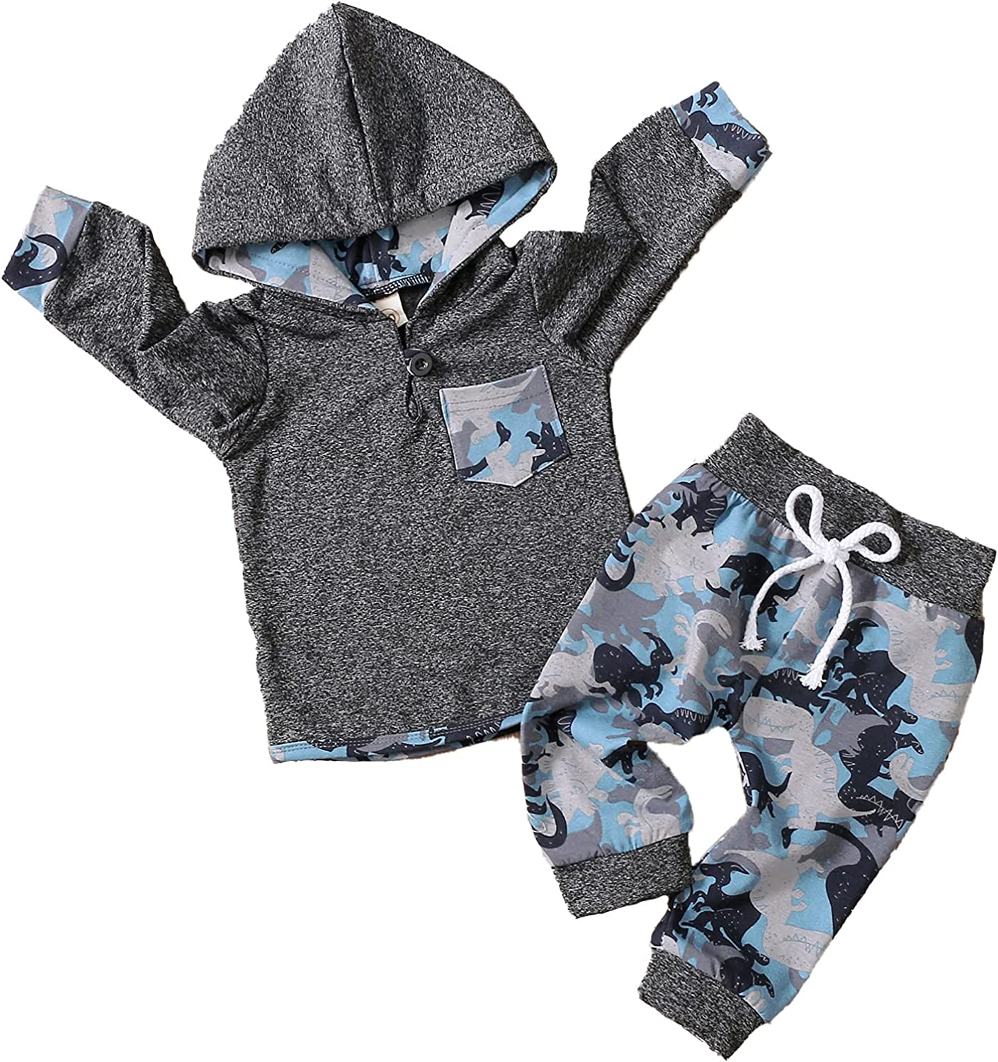 Toddler Infant Baby Boy Dinosaur Tracksuit Outfits Hoodie Hooded Sweatshirt + Trousers Autumn Spring Street Clothes Set