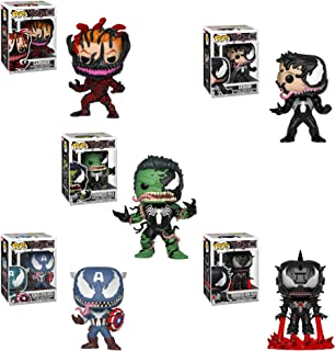 Funko Pop! Marvel - Venom Series Set of 5: Venomized Eddie Brock, Captain America, Iron Man, Hulk and Cletus Kasady