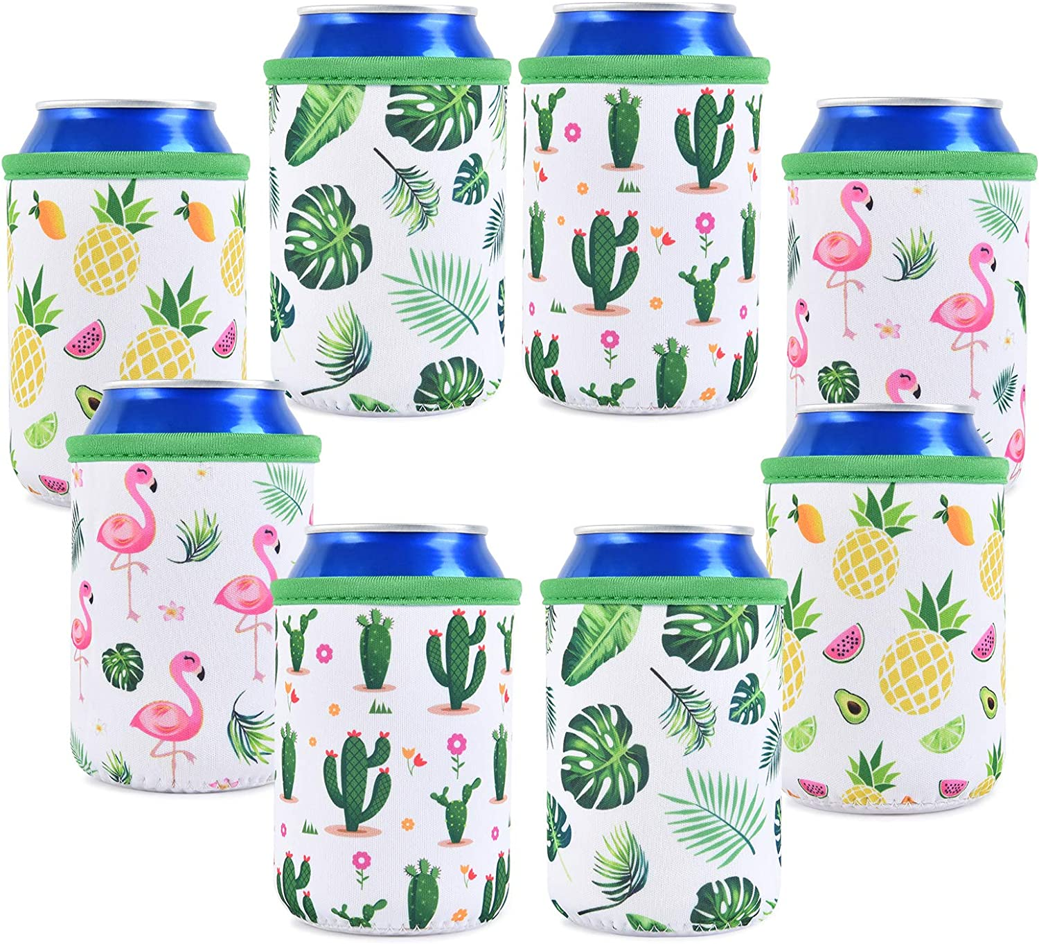 Set of 8 Neoprene Can Sleeves - Collapsible Thermocoolers Can Cooler Sleeves Tropical Summer Soda Beer Caddies for Weddings Bridal Shower Birthday Beach Bachelorette Parties: Home & Kitchen