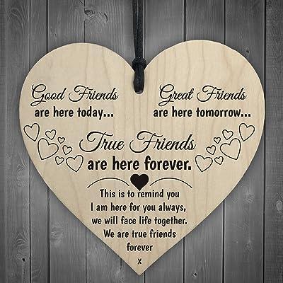 Red Ocean Cadeau d'Amitié et d'Amour Cœur en Bois à accrocher avec Le Message True Friends are Here Forever