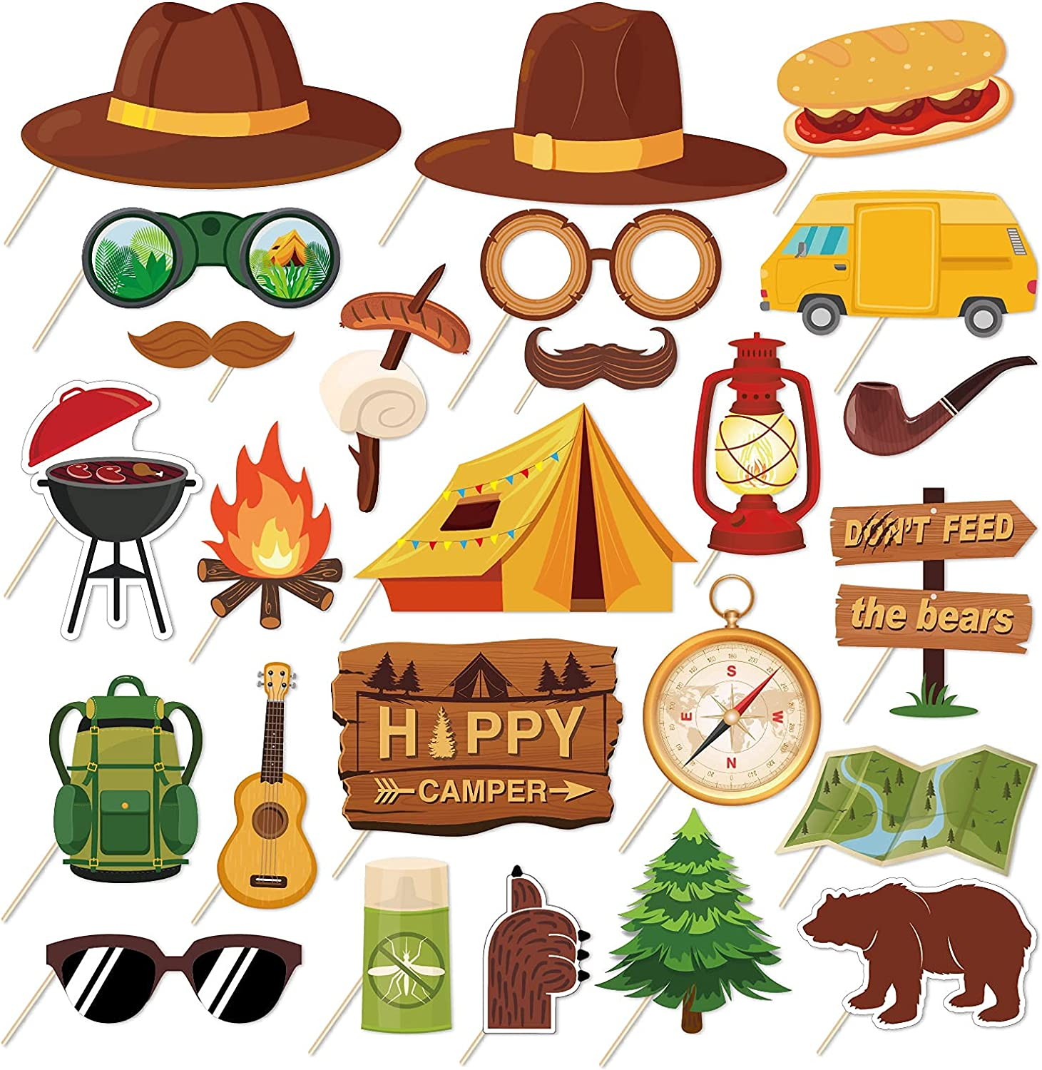Happy Camper Party Photo Props Kit - 25Pcs Funny Camping Party Selfie Props with Sticks for Kids Girls Boy Camping Birthday Party Supplies,Baby Shower,Backyard Camp Out Campfire Forest Hiking Fun Adventure Party Decor