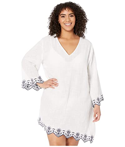 DOTTI Plus Size Rosemary Embroidery V-Neck Caftan Cover-Up (White) Women