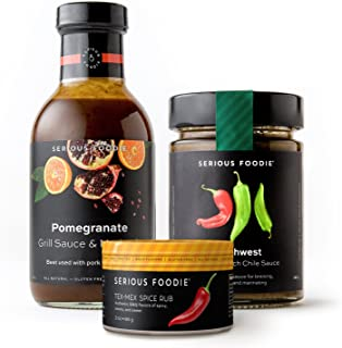 The Serious Foodie Sampler Pack - Spicy Flavors: Pomegranate Grill Sauce & Marinade, Southwest Roasted Hatch Chile Sauce, Tex-Mex Spice Rub