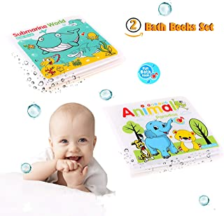 Floating Waterproof Baby Bath Books Set of 2 Non-Toxic Bath Time Toys Submarine Worlds and Animal Paradise Bath Book Educational Bath Toys for Toddlers Kids Infants Babies Boys and Girls Bathtub Toy