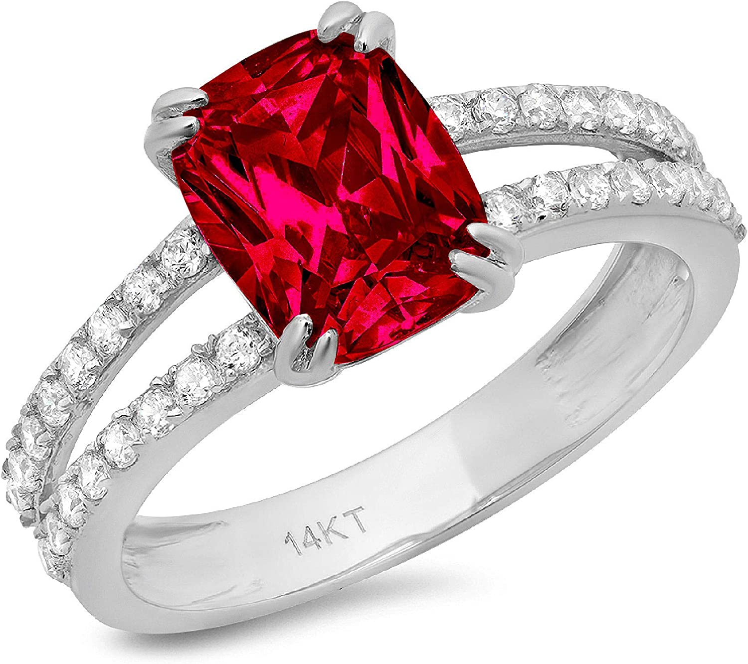 3.55 3.5 ct Brilliant Cushion Shape Solitaire with accent Stunning Genuine Flawless Simulated Pink Tourmaline Modern Promise Statement Designer Ring 18k White Gold