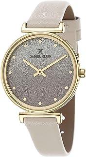 Daniel Klein Premium Alloy Case Genuine Leather Band Ladies Wrist Watch - Dk.1.12432-2, gold