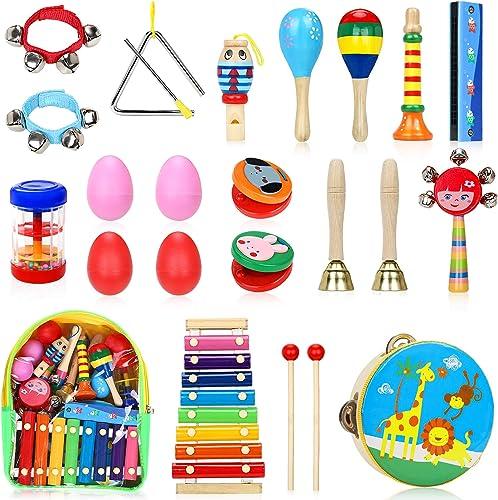 Jojoin Instruments de Musique pour Enfants, 24PCS Set en Bois Percussion pour Bébé avec Xylophone, Tambourin, Triangl...