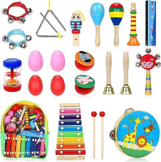 492 opinioni per Jojoin Strumenti Musicali Bambini, 24 Pezzi Percussioni per Bambini con Borsa,
