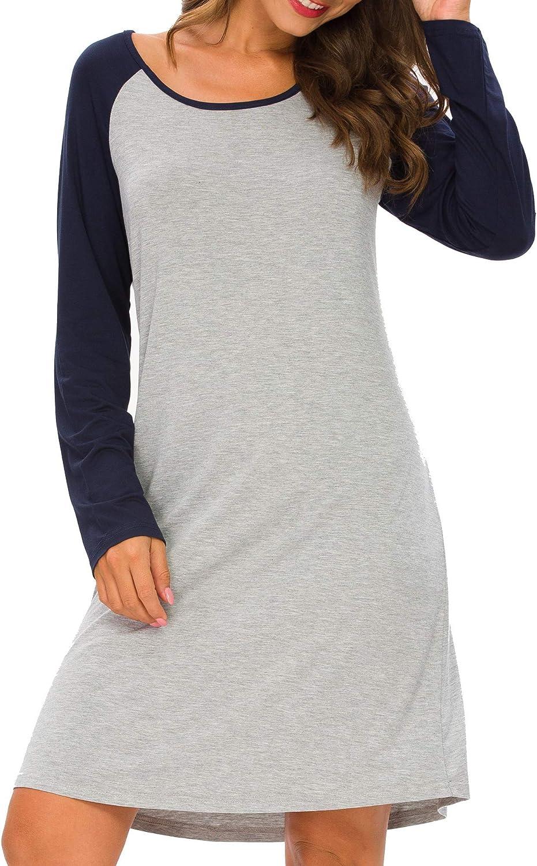 Houmagic Womens Nightgown Modal Sleep Shirt Long Sleeve V Neck Comfy Soft Pajama Sleepwear S-4XL