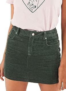 just quella Women Slim fit Corduroy A-line Short Skirt High Waist Boydon Mini Skirt