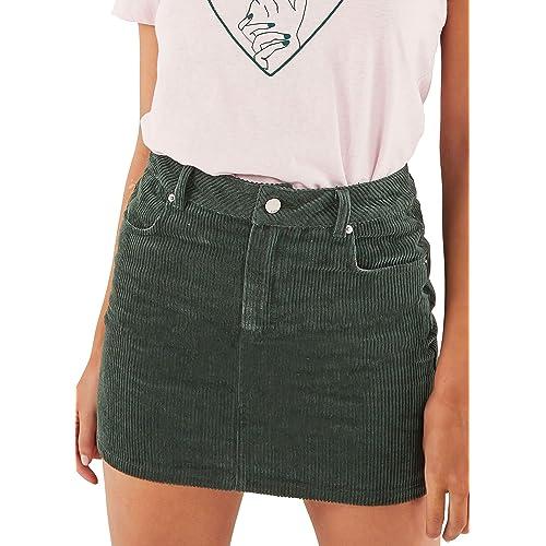 042c7aa2af7b just quella Women Slim fit Corduroy A-line Short Skirt High Waist Boydon  Mini Skirt