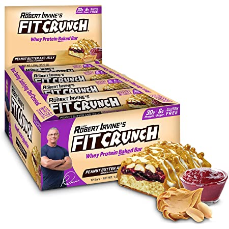 FITCRUNCH Protein Bars, Designed by Robert Irvine, Protein Bar, Gluten Free, Award Winning Taste, Whey Protein Isolate, Low Sugar (12 Count, Peanut Butter & Jelly)