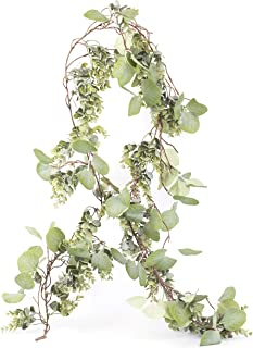 EliteDesigns Faux Eucalyptus Garland Greenery (Approx. 6 Ft x 8 Inch) Realistic Silk Silver Dollar and Regular Eucalyptus Leaf Vines - Decorative Wedding Arch, Home Decor