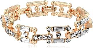 Steve Madden Women's Rhinestone Square Link Rose Gold-Tone Bracelet