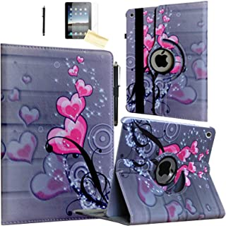 JYtrend Case for 2019 iPad 10.2 inch, for iPad 7th Generation, Rotating Stand Smart Magnetic Auto Wake Up/Sleep Cover for Model A2197 A2200 A2198 A2199 MW752LL/A MW782LL/A MW762LL/A (Heart Flower)