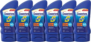 Coppertone SPORT Sunscreen Lotion SPF 50 Travel Size Multipack (3 Fluid Ounce Bottle, Pack of 6)