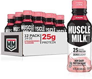 Muscle Milk Genuine Protein Shake, Strawberries 'N Crème, 25g Protein, 14 Fl Oz, 12 Pack
