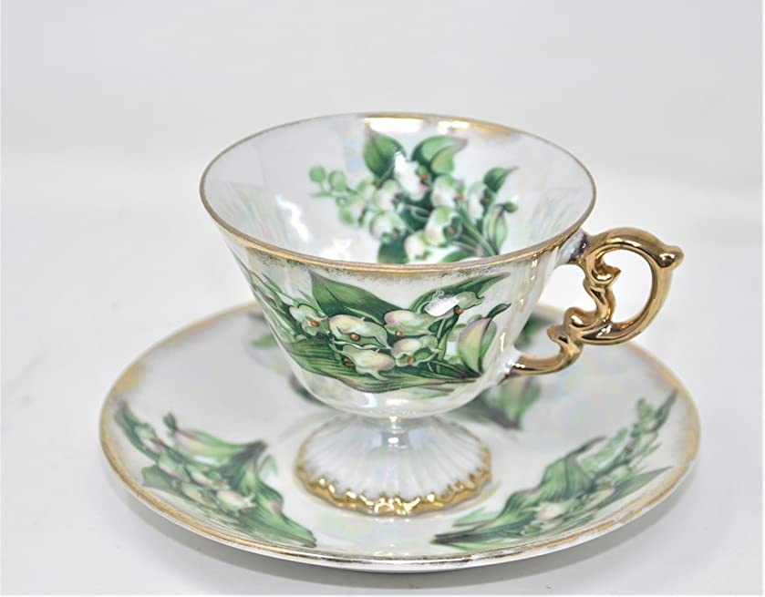 Vintage Ucago MAY Birthday Footed Cup & Saucer Set Iridescent Lily of the Valley