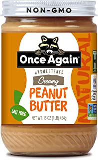 Once Again Natural, Creamy Peanut Butter - Salt Free, Unsweetened - 16 oz Jar