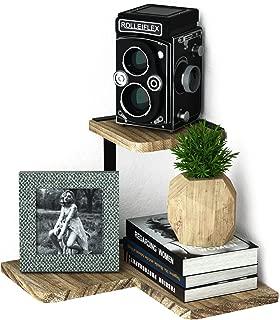 SRIWATANA Rustic Corner Shelf, 2-Tier Wood Wall Shelf, Wall Mounted Storage Shelves for Bedroom, Living Room, Bathroom