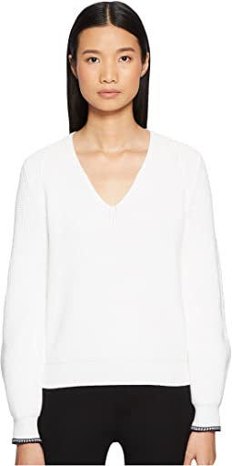Vince - Bishop Sleeve Rib V-Neck Top