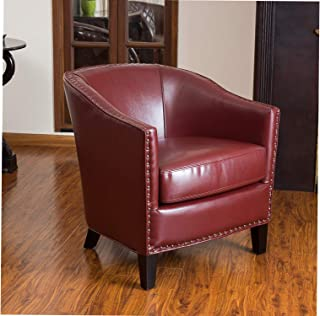Wood & Style Office Home Furniture Premium Carlton | Leather Club Chair with Studded Accents | in Red
