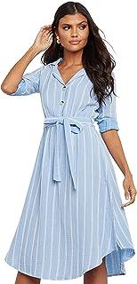 فستان مخطط متوسط الطول بحافة منحنية وحزام ربط ذاتي للنساء