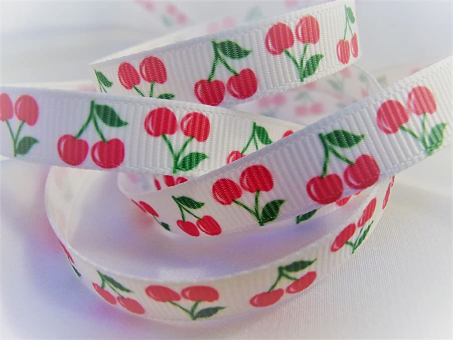 Grosgrain Ribbon - Cherry Print - 3/8 Inch Wide - 10 Yards Use for Hair Bows, Sewing & Crafts!