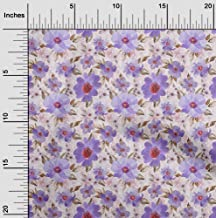 oneOone Velvet Light Purple Fabric Leaves & Watercolor Flower Floral Fabric for Sewing Printed Craft Fabric by The Yard 58...