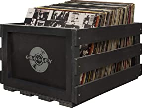 Crosley AC1004A-BK Record Storage Crate Holds up to 75 Albums, Black music